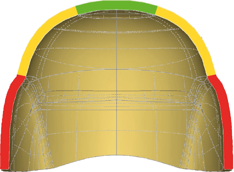 A diagram of a helmet made by the conventional process