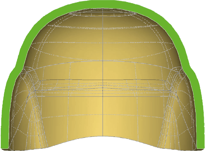 A diagram of a helmet made by Comppress
